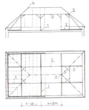 Řešení krovu valbové střechy o rozponu 8 až 11 m