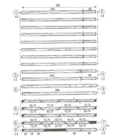 Řezný plán malé pergoly (v cm)