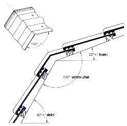Stanovení velikosti vnitřního úhlu u mansardové tašky
