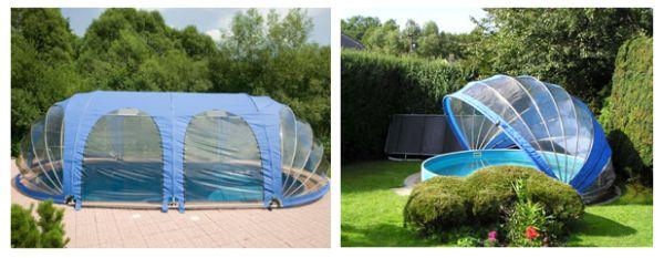 Příklad zastřešení oválného bazénu fóliovým zastřešením