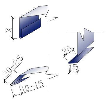 Některé příklady tvarů okapnic