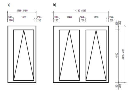 Parkování – plošné nároky jednogaráže(a), dvougaráže (b)