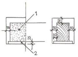 Uložení nosného trámu: 1 - impregnování, 2 - podkladní prkénko