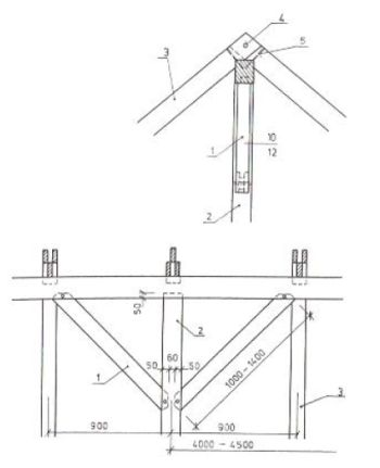 Spojení pásků se sloupkem a s hřebenovou vaznicí: 1 - pásek, 2 - sloupek, 3 - krokev, 4 - kolík, 5 - hřeb