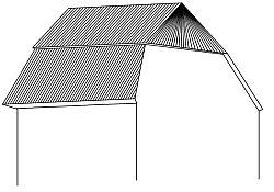 Mansardová střecha se zvalbeným vrškem