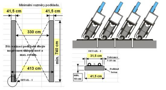 Příklad rozměrů kolejových pasů a kotvení kolejiště (J.F.C. CZ a.s.)