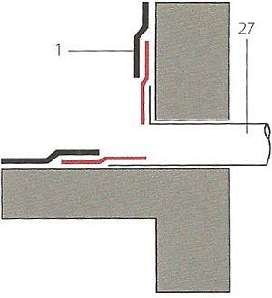 Schéma ukončení asfaltového hydroizolačního povlaku na chrliči, zdroj: Grada