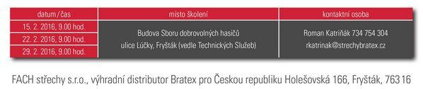 Termíny produktového školení Bratex 2016