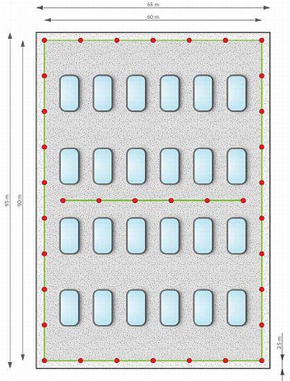 Příklad řešení ploché střechy – s pomocí lanového systému, zdroj: Metodika - Ing. Mojmír Klas