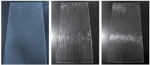 Prizmatické sklo lze vyrobit s různými povrchy. Hladký, Břidlice,Struktura dřeva, zdroj: T-Power