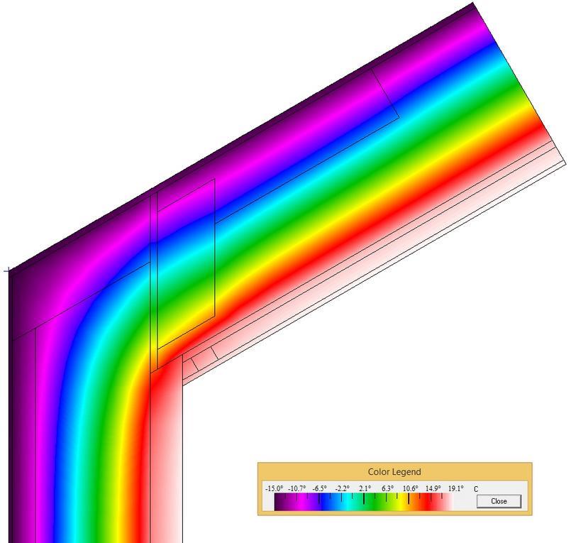 Detail napojení šikmé střechy z dřevěných l-nosníků na obvodovou zeď - termovize