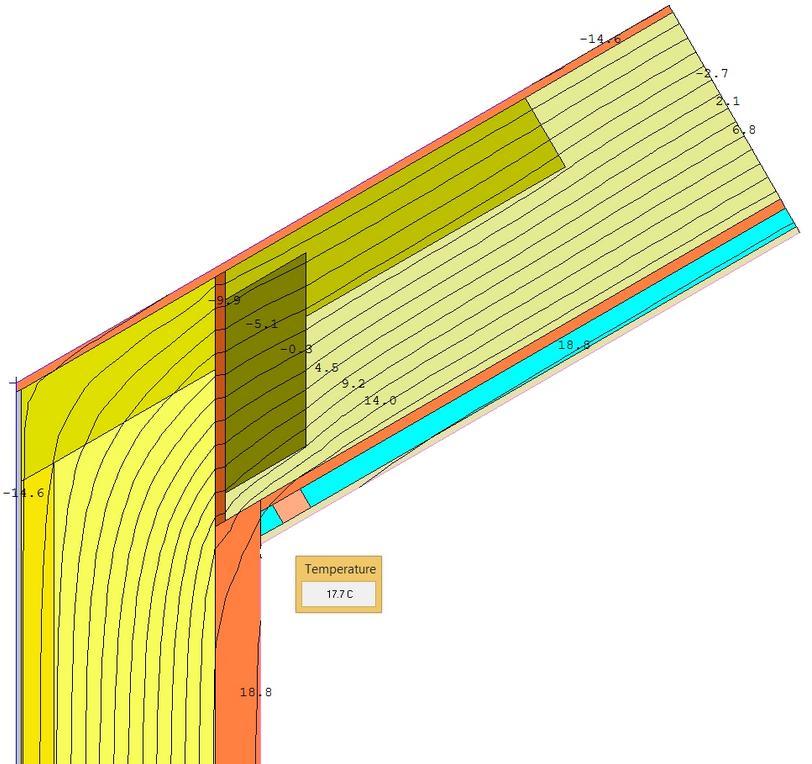 Detail napojení šikmé střechy z dřevěných l-nosníků na obvodovou zeď - teplota