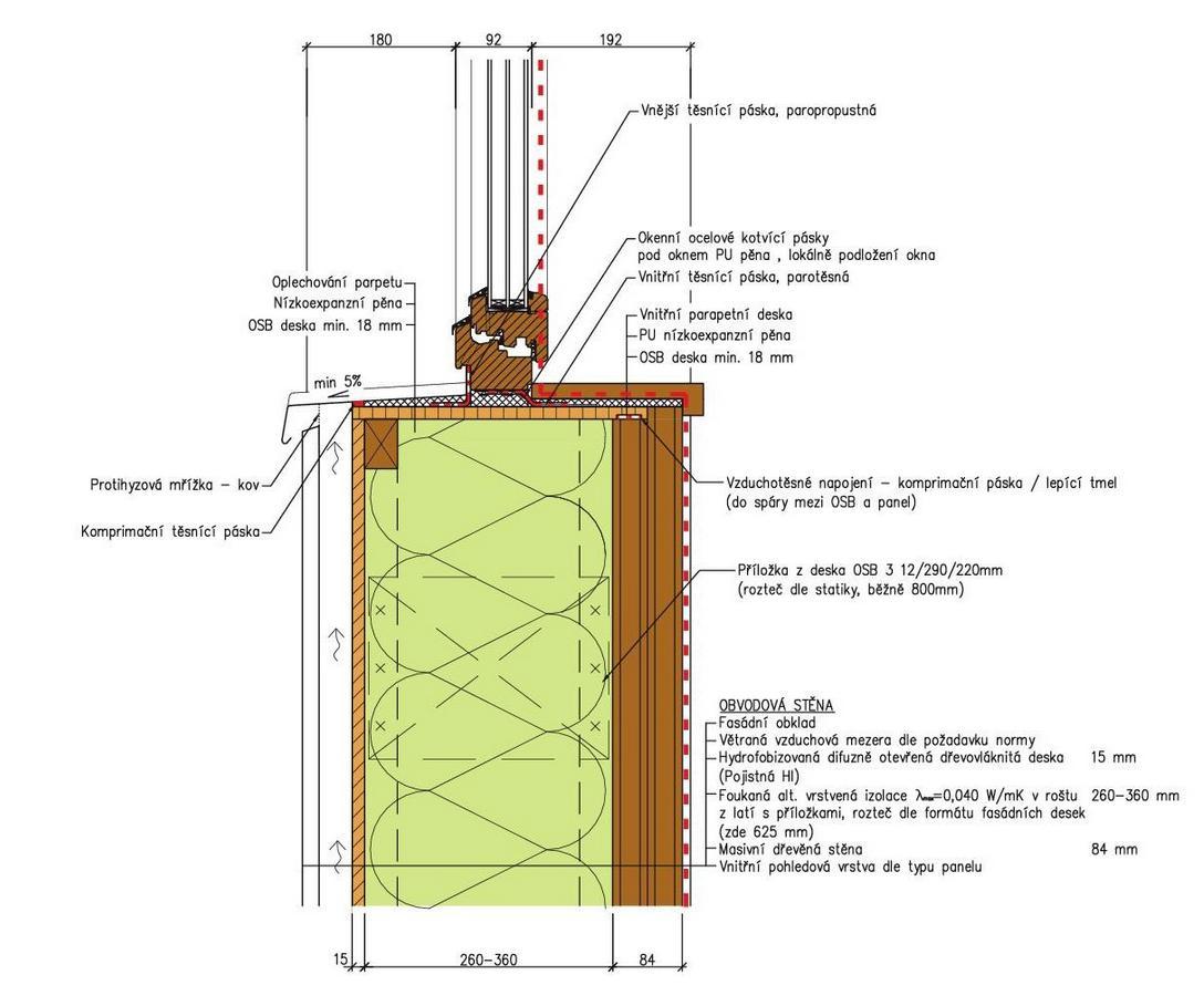 montáž okna do masivní dřevostavby do kastlíku tvořeného OSB deskou