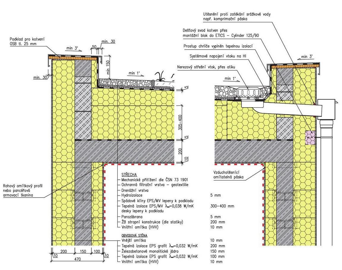 Jednoplášťová teplá střecha - řez