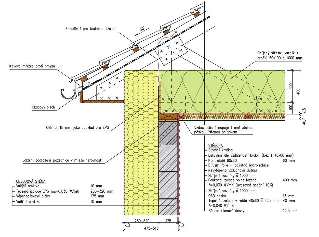 detail šikmé střechy u okapu, lehkou konstrukci střechy ze sbíjených vazníků