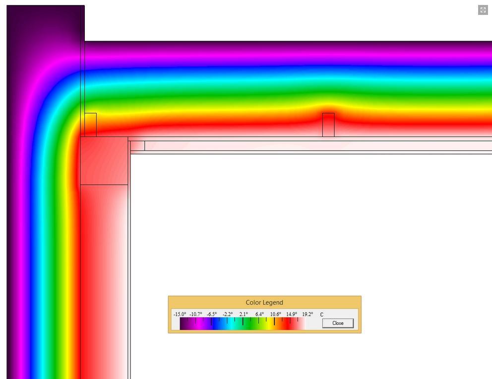 detail šikmé nebo pultové střechy u štítu - termovize