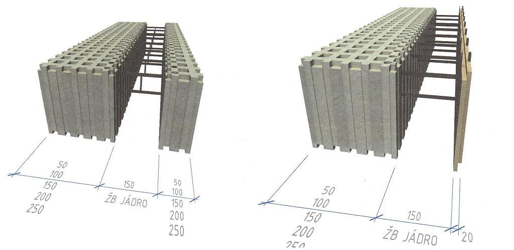 Systém stěnového ztraceného bednění z šedého polystyrenu