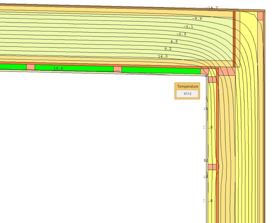Detail dvouplášťové střechy ploché z lehké dřevěné sloupkové konstrukce - simulace teplot