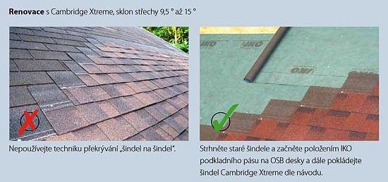 Renovace střechy s šindelem IKO Cambridge Extreme 9,5°- sklon střechy 9,5 ° až 15 °, zdroj: IKO