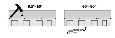 Hřebíky a těsnění pro instalaci šindele IKO Cambridge Extreme 9,5°- schéma, zdroj: IKO