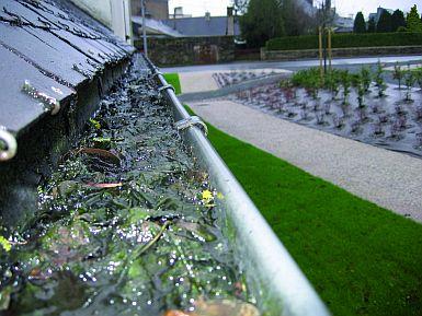 1. S tím bojuje mnoho majitelů domů: Listí a jiné nečistoty v okapu, které pak někdy začnou překážet v odtoku dešťové vody, zdroj: ZAMBELLI