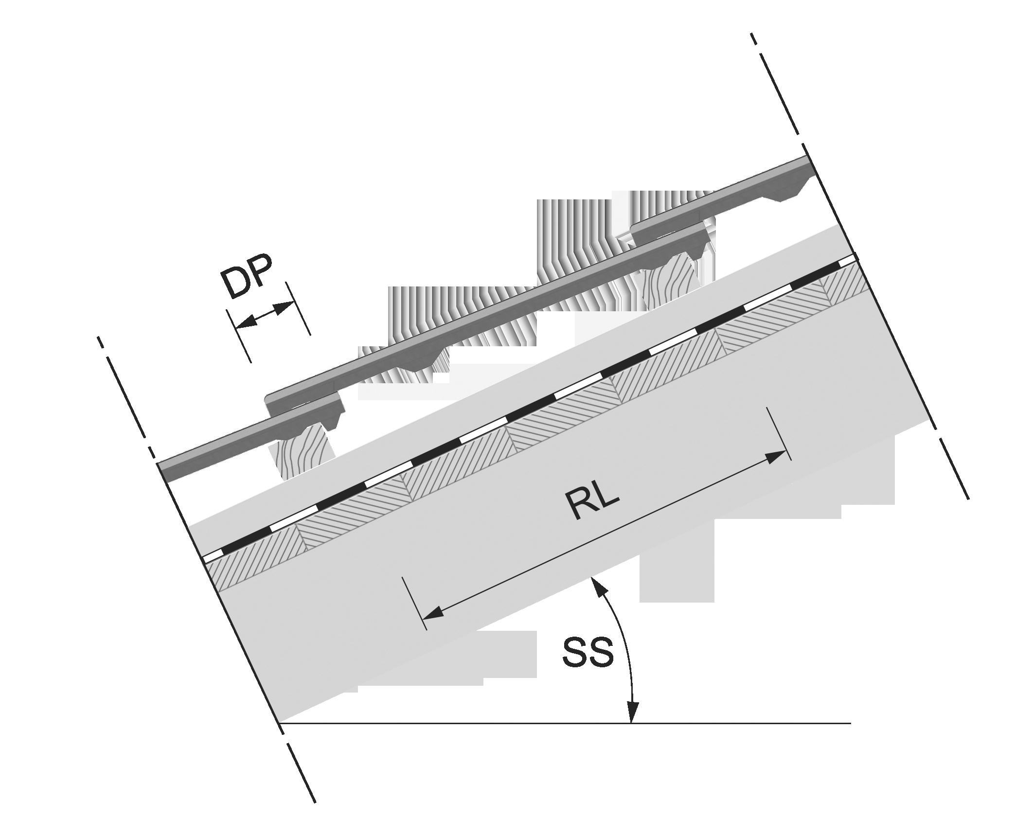 Detail - Rozteč latí pro KMB Rota střešní sklon