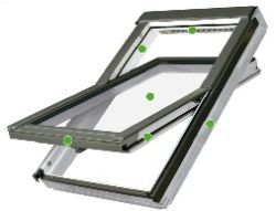 FAKRO - kyvné střešní okno FTU - V U3  - energeticky úsporné dvojsklo U3