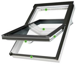 FAKRO - kyvné střešní okno PTP - V  U3  - energeticky úsporné dvojsklo U3