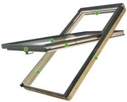 FAKRO - kyvné střešní okno se zvýšenou osou otáčení FYP - V U3 proSky - energeticky úsporné dvojsklo  U3
