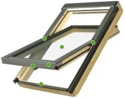 FAKRO - kyvné střešní okno se zvýšenou odolností proti vloupání Secure FTP - V P2  - energeticky úsporné dvojsklo P2