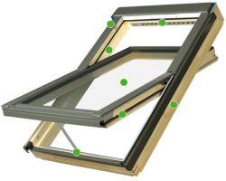 FAKRO - kyvné střešní okno FTU - V U5  - nízkoenergetické trojsklo U5