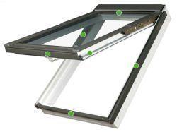 FAKRO - výklopně-kyvné střešní okno PPP V/GO U5 preSelect - nízkoenergetické trojsklo U5