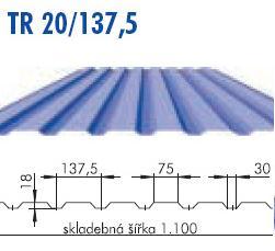 Trapézový plech TR 20/137,5; povrch Aluzink