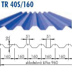 Trapézový plech TR 40(S)/160, povrch Aluzink